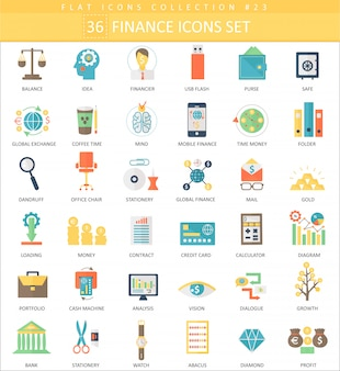 Vector finance color flat icon set.