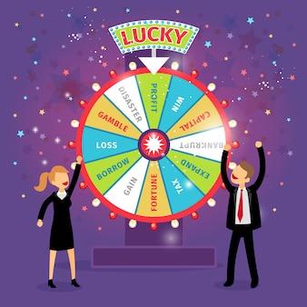 행운의 벡터 금융 휠입니다. 비즈니스 개념. 기회와 위험, 도박과 이익, 세금과 이득, 차입과 손실, 재난과 자본