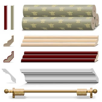 Vector finishing wall materials isolated on white background
