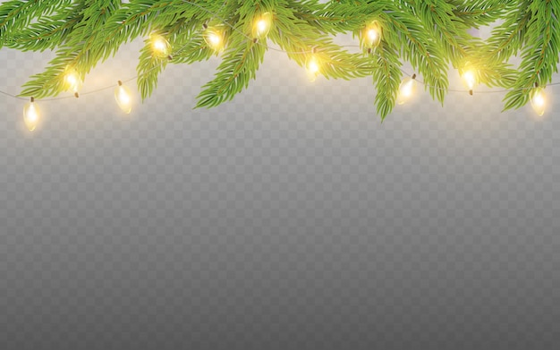Vector fir branches and christmas lights glowing garland for new year holiday cards posters