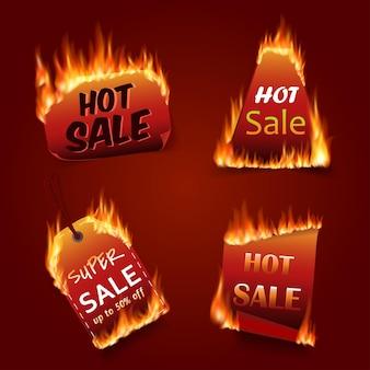 ベクトル火災ラベルセット。価格と販売、取引とオファー、特別なタグまたはバッジ、ビジネスプロモーション