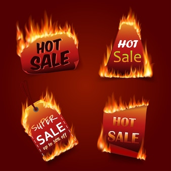 Vector fire labels set. price and sale, deal and offer, special tag or badge, business promotion