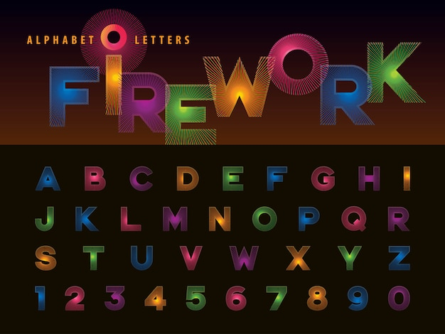 Vector of firework alphabet letters and numbers