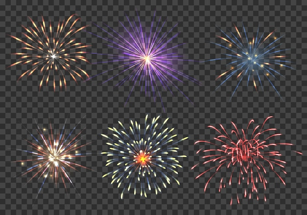 Векторный набор фейерверков. событие, блеск и звезда, пиротехника и петарда иллюстрации
