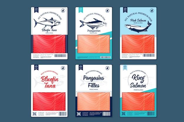 ベクトル魚フラットスタイルのパッケージデザイン。サーモン、パンガシウス、マグロのイラストと魚の肉のテクスチャ