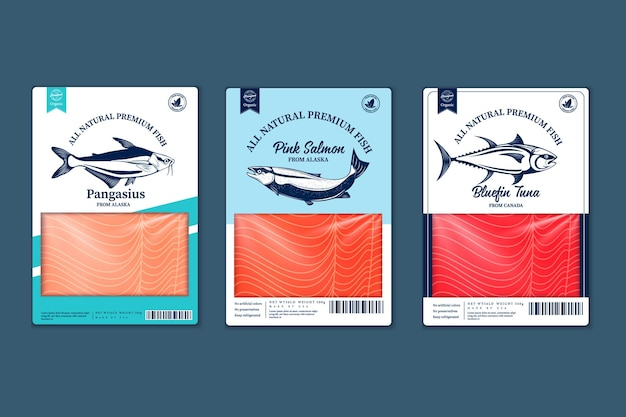 Vector fish flat style packaging design. salmon, pangasius, tuna fish illustrations and fish meat textures