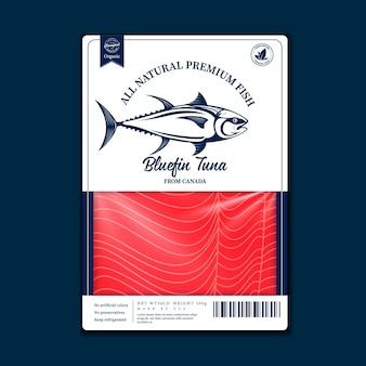 ベクトル魚フラットスタイルのパッケージデザイン。鮭、マス、マグロ、スケトウダラの魚のイラストと、パッケージング、漁業、広告などの魚肉の質感