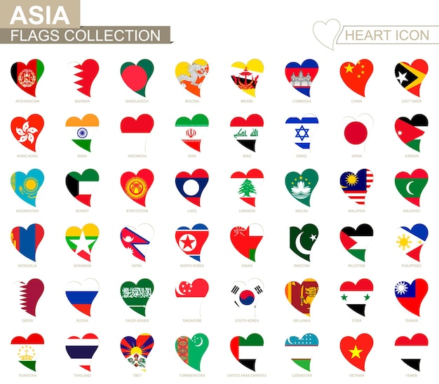 Vector flag collection of asian countries. heart icon set.