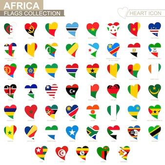 Векторная коллекция флагов африканских стран. набор иконок сердца.