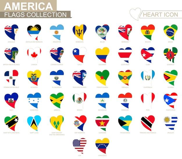 Векторная коллекция флагов американских стран. набор иконок сердца.