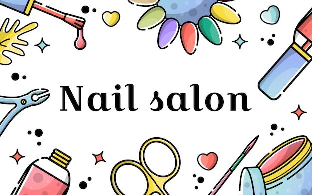 Vector flat background for nail salon