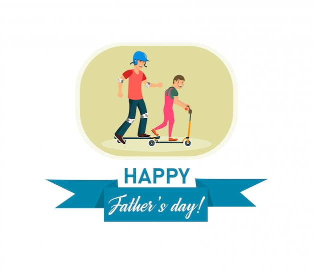 Vector flat banner happy fathers day dad and son.