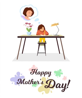 Vector flat banner happy mothers day little girl.