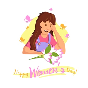 Vector flat banner happy womens day happy girl.
