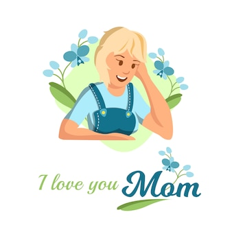 Vector flat banner i love you mom blonde woman.