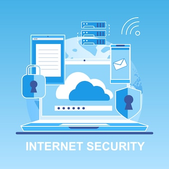 Vector flat banner internet security personal.