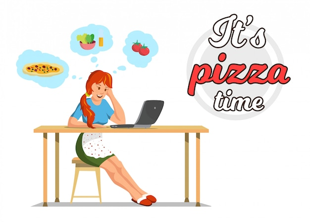 Vector flat banner its pizza time mom in kitchen.