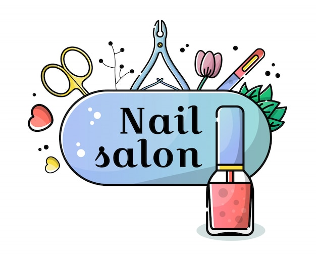 Vector flat banner for nail salon background