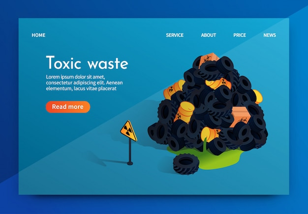 Vector flat banner problem factory toxic waste.