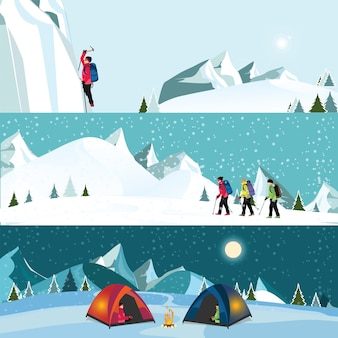 Vector flat banner set of ice climber,