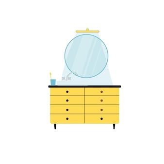 거울, 세면대, 수도꼭지가 있는 벡터 평면 만화 욕실 캐비닛은 빈 배경의 현대적인 가정 화장실 가구, 내부 요소 및 개인 위생 개념, 웹 사이트 배너 광고 디자인에 격리되어 있습니다.
