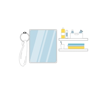 Vector flat cartoon bathroom mirror,towel,shelves with personal hygiene products items isolated on empty background-modern home washroom furniture,interior elements concept,web site banner ad design