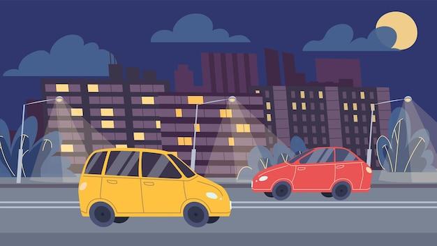 벡터 평면 만화 자동차는 야간 도로를 따라 운전하고 도시 경관 배경의 고속도로 교통 - 웹 온라인 배너 디자인, 도시 생활 장면, 사회 이야기 개념