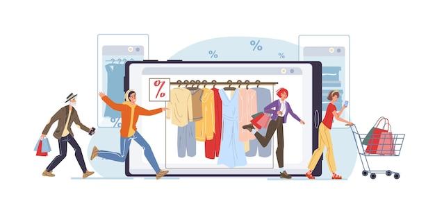 オンラインショップでフラットな漫画のキャラクターをベクトルし、買い物のオファーを探し、画面上の携帯電話、タブレット、スマートフォンで割引-オンラインウェブ販売、ソーシャルメディア、ファッション、感情、ライフスタイルのコンセプト