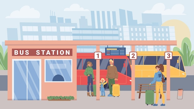 Vector flat cartoon characters in city life scene-various people with suitcases stand at bus station,waiting for their trip ride.web online banner design,life scene,social story concept