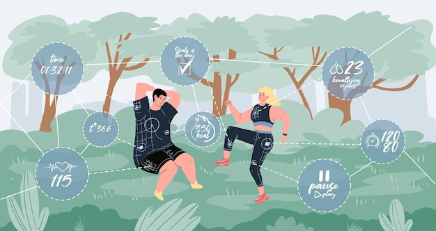 公園で屋外のスポーツ活動を行うベクトルフラット漫画のキャラクター