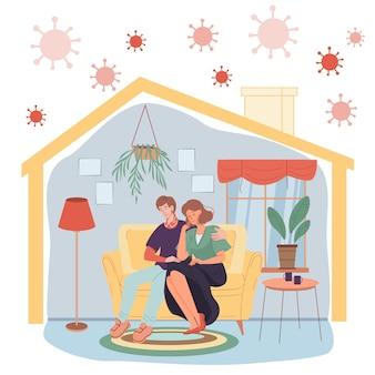 自己隔離の家の検疫で屋内でフラットな漫画のキャラクターをベクトルします。