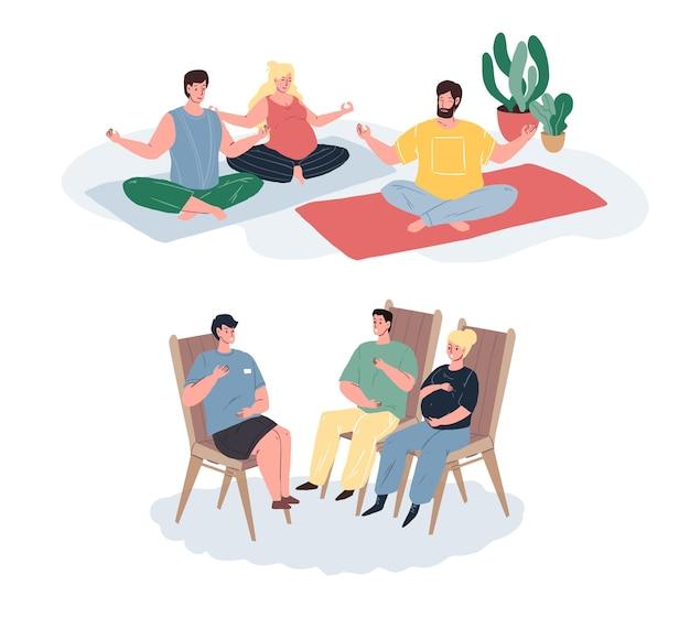 Векторные плоские герои мультфильмов, беременные женщины делают упражнения в классе медитации