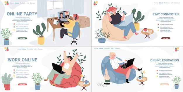 Векторные плоские герои мультфильмов, использующие онлайн-видео-мессенджер, конференц-связь на ноутбуках. счастливые люди разговаривают с друзьями, устраивают вечеринки, учатся и работают в интернете с помощью интернета. набор дизайна целевой страницы