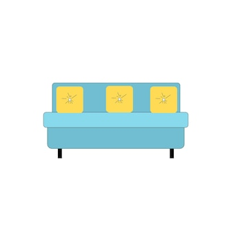 빈 배경 현대 가구, 거실 인테리어 요소, 안락한 가정 생활 개념, 웹 사이트 배너 광고 디자인에 격리된 베개가 있는 벡터 평면 만화 소파