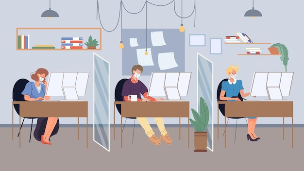 Vector flat cartoon employee characters in face masks busy with workflow in office workspace