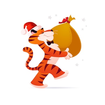 Vector flat cartoon illustration of new year and merry christmas mascot tiger funny character in santa hat carry big bag with xmas gifts isolated. for banners, web, packaging, ads, cards etc.