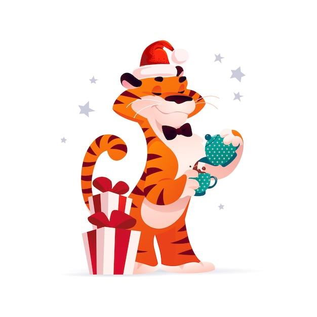 Векторная иллюстрация плоский мультфильм нового года и веселого рождества талисман тигр забавный персонаж в шляпе санта с рождественскими подарками и чашкой горячего шоколада изолированы. для баннеров, интернета, упаковки, рекламы, открыток