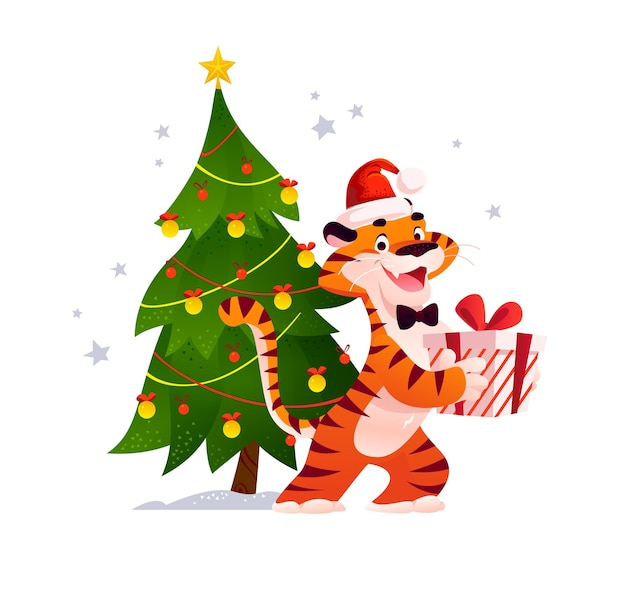 Векторная иллюстрация плоский мультфильм нового года и веселого рождества талисман тигр забавный персонаж с подарочной коробкой на украшенной рождественской елке изолированы. для баннеров, интернета, упаковки, рекламы, открыток и т. д.