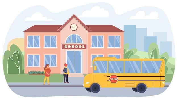 Векторные плоские мультяшные детские персонажи в городской жизни. ученики на тротуаре идут к зданию школы, школьный автобус стоит рядом на дороге. веб-дизайн онлайн-баннера, жизненная сцена, концепция социальной истории