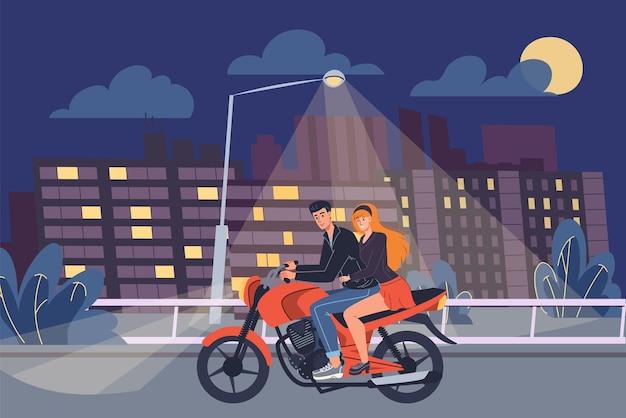 벡터 평면 만화 남자와 여자 캐릭터는 야간 도로에서 오토바이를 탄다. 오토바이를 탄 세련된 10대와 행복한 귀여운 소녀 - 웹 온라인 배너 디자인, 생활 장면, 사회 이야기 개념