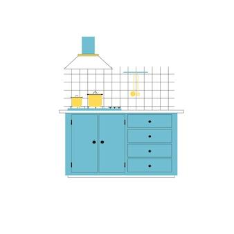 빈 배경 현대 가정 가구, 주방 세트 내부 요소 개념, 웹 사이트 배너 광고 디자인에 고립 된 캐비닛 및 배기 후드와 요리 테이블에 벡터 평면 만화 팬