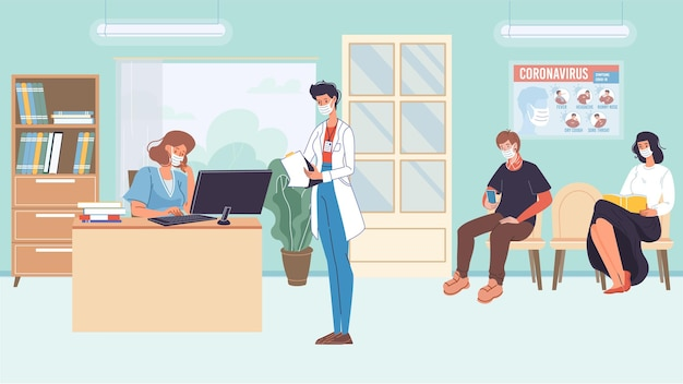 Vector flat cartoon patient characters in face masks waiting doctor appointment in corridor