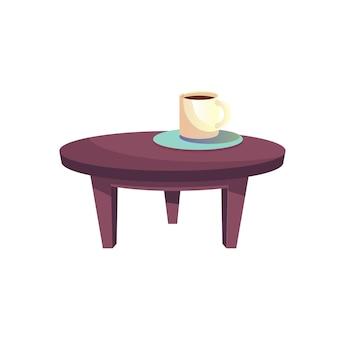 벡터 플랫 만화 라운드 ñ 커피 테이블, 컵과 접시가 빈 배경 홈 가구 및 실내 요소 개념, 웹 사이트 배너 광고 디자인에 격리되어 있습니다.
