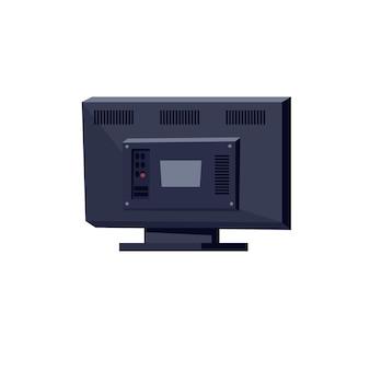 Вектор плоский мультфильм телевизор вид сзади, изолированные на пустой фон-электронное оборудование, бытовая техника и концепция современных цифровых технологий, дизайн рекламы веб-сайта