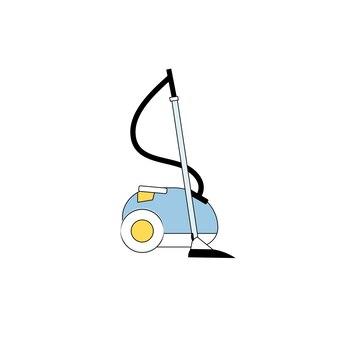空の背景に分離されたベクトルフラット漫画掃除機-現代の家電製品と家の掃除のコンセプト、ウェブサイトのバナー広告デザイン
