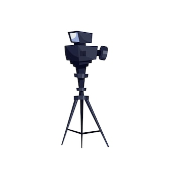 Vector flat cartoon video camera isolated on empty background-professional tv studio equipment,television production industry concept,web site banner ad design