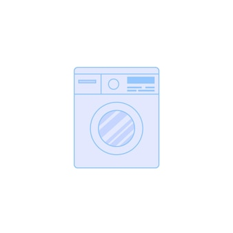 Vector flat cartoon washing machine isolated on empty background-home appliances,interior element concept,web site banner ad design