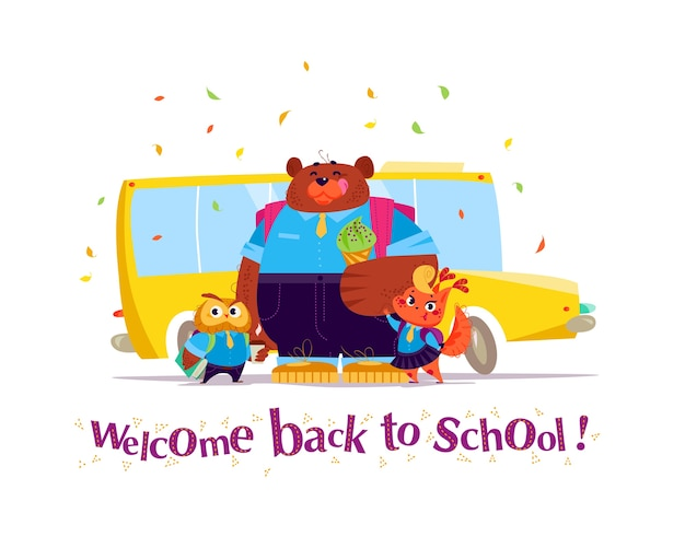 Vector flat collection of happy animal student standing at school bus. back to school illustration isolated. cartoon style, lettering.