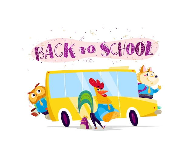 Векторная плоская коллекция счастливого студента-животного, стоящего в школьном автобусе. снова в школу иллюстрации изолированы. мультяшный стиль, надписи.