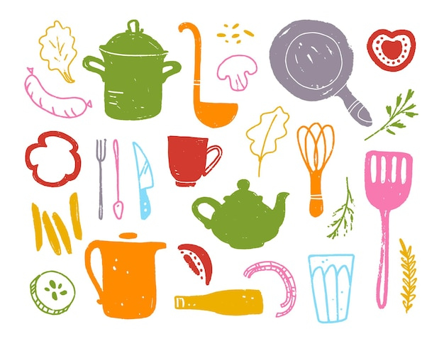 Векторная плоская коллекция кухонных вещей объектов